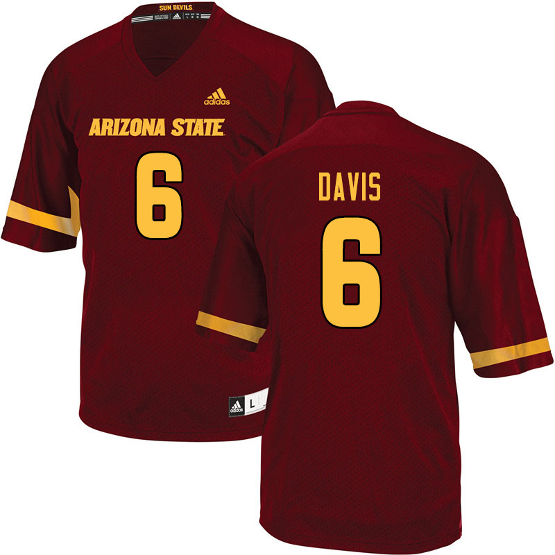 Men #6 Timarcus Davis Arizona State Sun Devils College Football Jerseys Sale-Maroon