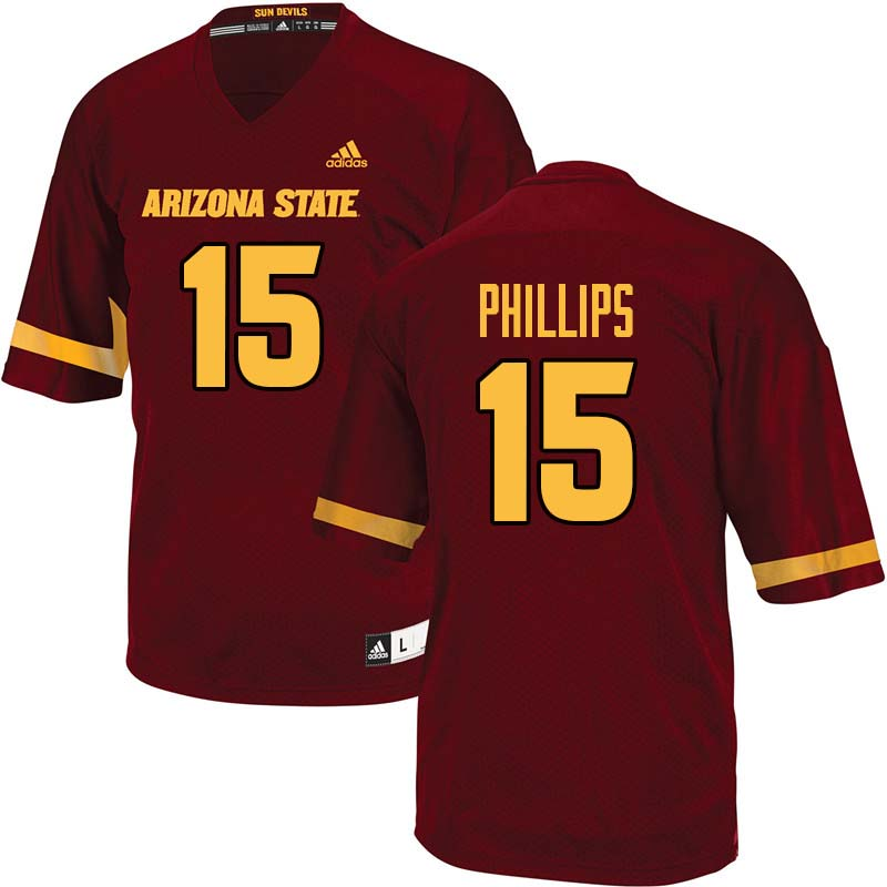 Men #15 Cam Phillips Arizona State Sun Devils College Football Jerseys Sale-Maroon