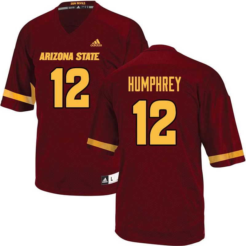 Men #12 John Humphrey Arizona State Sun Devils College Football Jerseys Sale-Maroon
