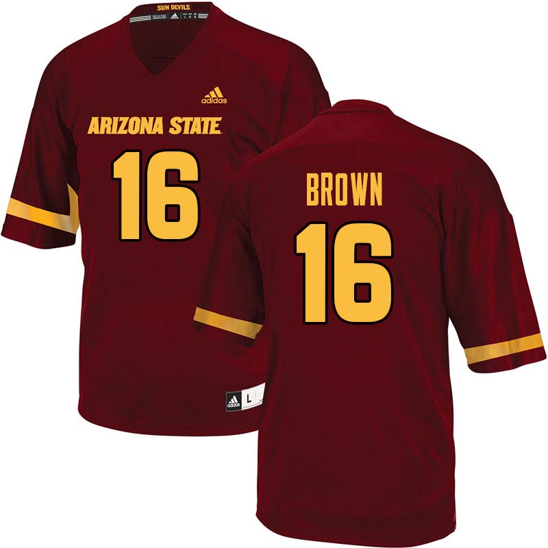 Men #16 Kevin Brown Arizona State Sun Devils College Football Jerseys Sale-Maroon