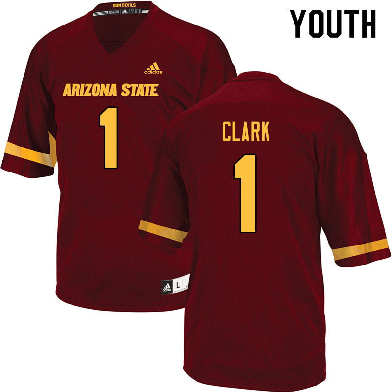 Youth #1 Jordan Clark Arizona State Sun Devils College Football Jerseys Sale-Maroon