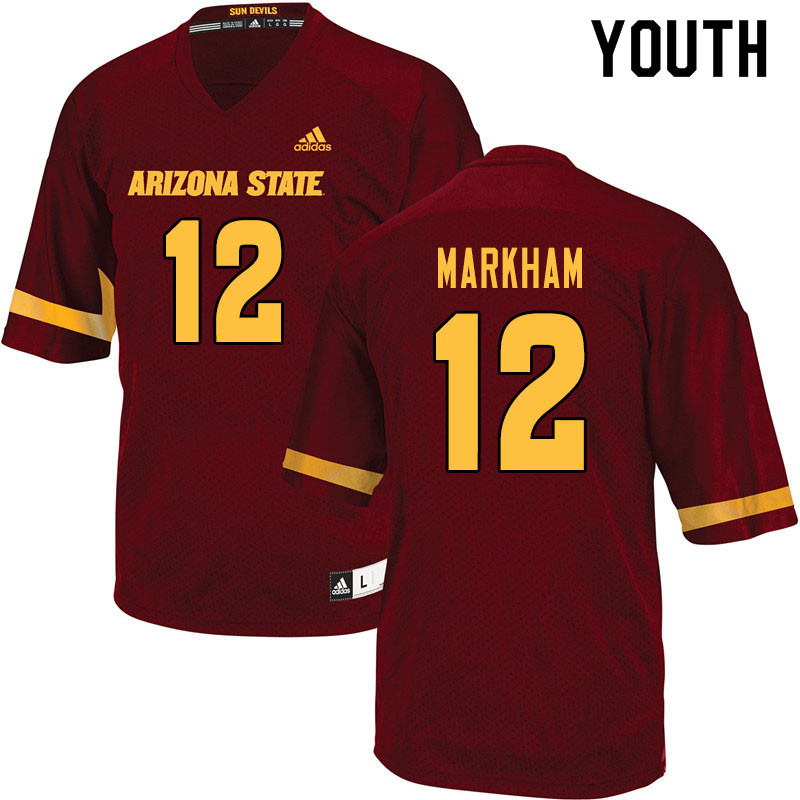 Youth #12 Kejuan Markham Arizona State Sun Devils College Football Jerseys Sale-Maroon