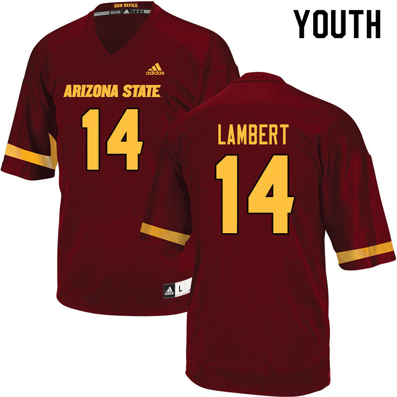 Youth #14 Stanley Lambert Arizona State Sun Devils College Football Jerseys Sale-Maroon