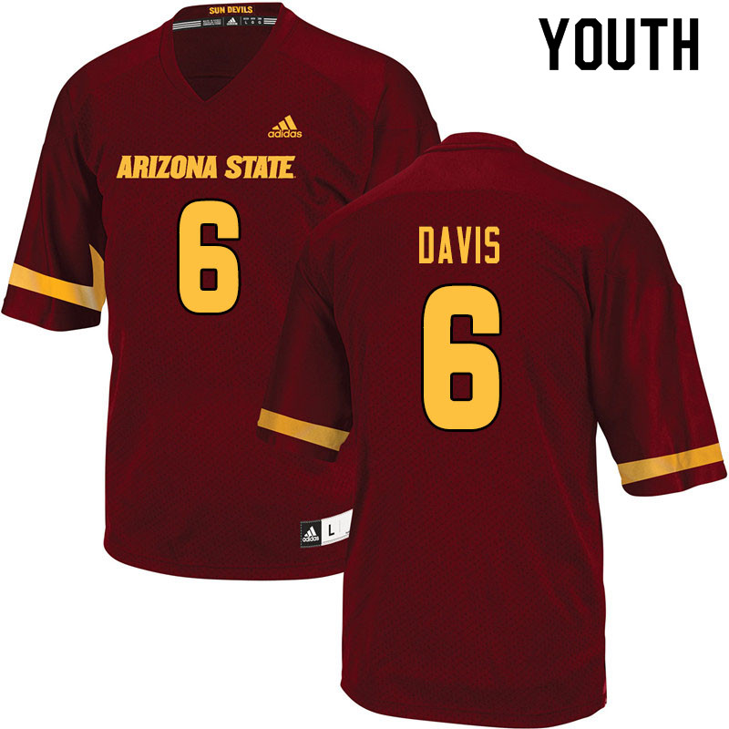 Youth #6 Timarcus Davis Arizona State Sun Devils College Football Jerseys Sale-Maroon