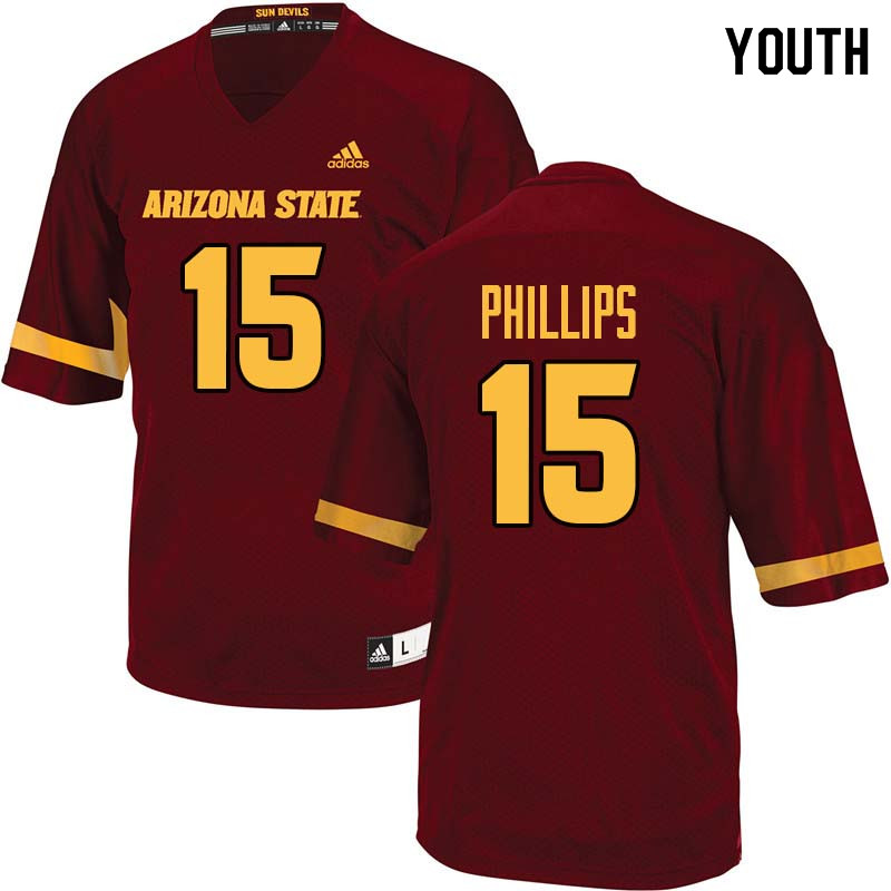 Youth #15 Cam Phillips Arizona State Sun Devils College Football Jerseys Sale-Maroon