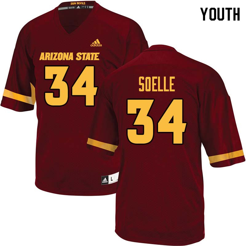 Youth #34 Kyle Soelle Arizona State Sun Devils College Football Jerseys Sale-Maroon